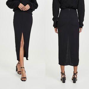 Reformation Midi Length Black Skirt, Size-6